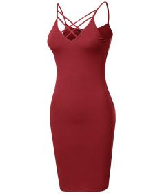 Women's Solid Cotton Lattice-Trim Body-Con Mini Cocktail Dress