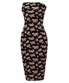 Women's Super Sexy Comfortable Floral Tube Top Bodycon Midi Dress