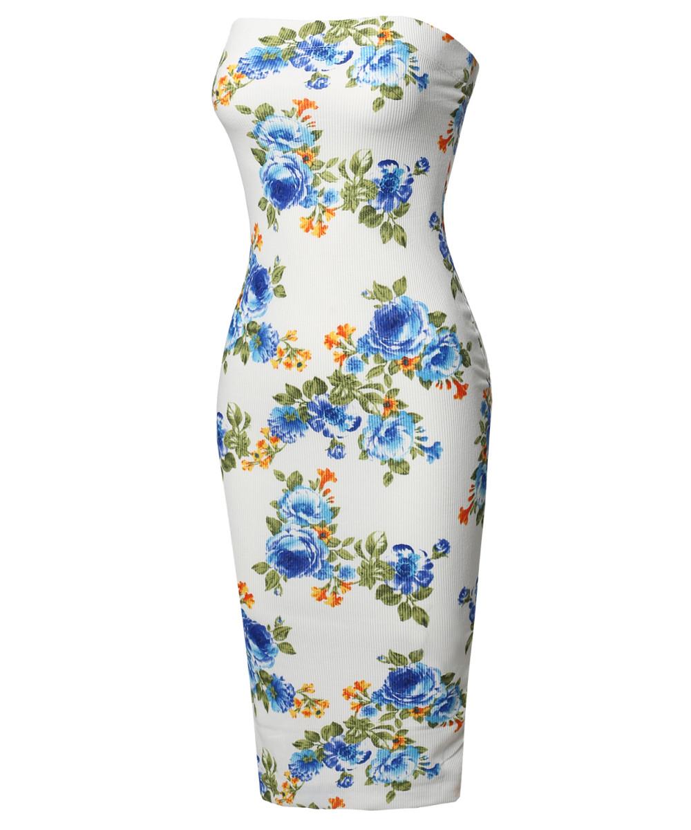 ab4a6c75fe Women s Super Sexy Comfortable Floral Tube Top Bodycon Midi Dress ...