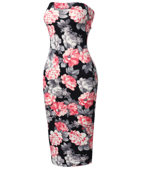 Women's Super Sexy Comfortable Floral Tube Top Bodycon Midi Dress