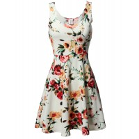 Women's Floral Flare Sleeveless Dress MADE in USA