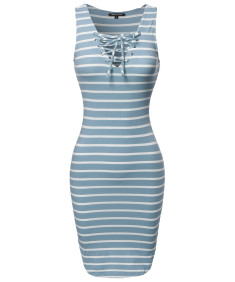 Women's Basic Every Day Lattice-Front Stripe Sleeveless Dress