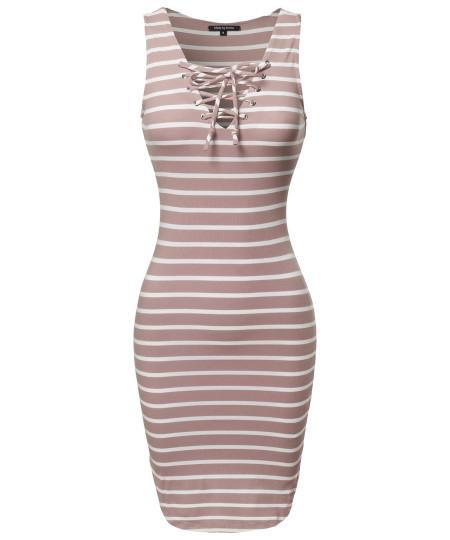 Women's Basic Every Day Lattice-Front Stripe Sleeveless Dress