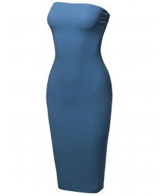 Women's Sexy Scuba Crepe Tube Top Body-Con Midi Dress in Various Colors