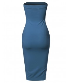 Women's Sexy Scuba Crepe Tube Top Body-Con Midi Dress in Various Colors