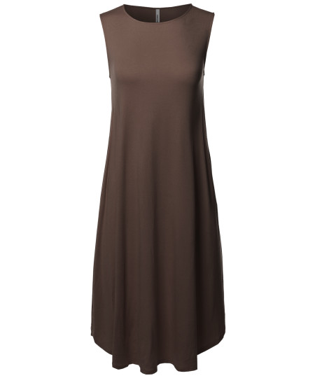 Women's Casual Solid Viscose Sleeveless Round Neck Midi Dress