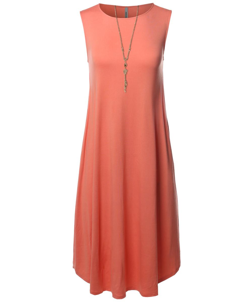 Sleeveless Round Neck Midi Dress