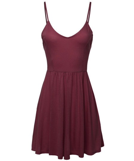 Women's Solid Sleeveless Open Strappy Detailed Back Mini Dress