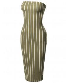 Women's Pinstripe Print Body-Con Tube Midi Dress