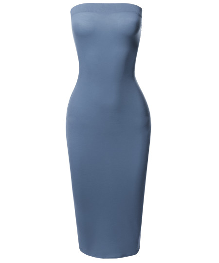 Women's Solid Stretchable Body-Con Midi Tube Dress - Made in USA