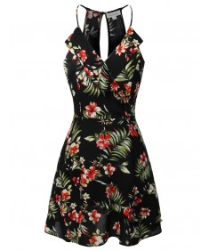Women's Floral Print Sleeveless V-Neck Ruffle Front Mini Dress