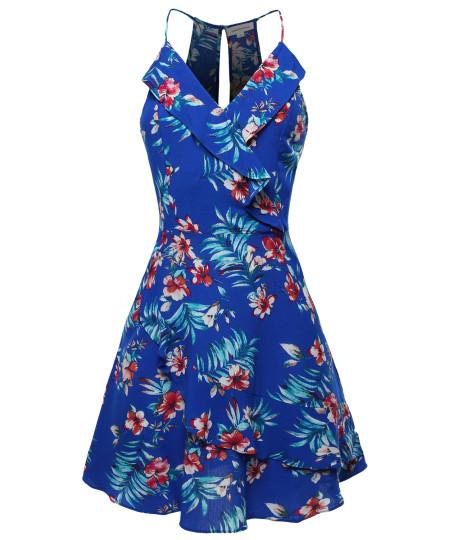 Women's Floral Print Sleeveless V-Neck Ruffle Front Mini Dress