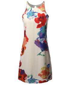 Women's Floral  Sleeveless  Casual Chiffon Midi Dress  -  Made In USA
