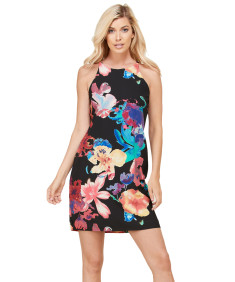 Women's Casual Floral Sleeveless Chiffon Mini Dress - Made in USA
