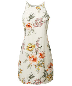 Women's Floral Print Sleeveless  Casual Silky  Midi Dress  -  Made In USA