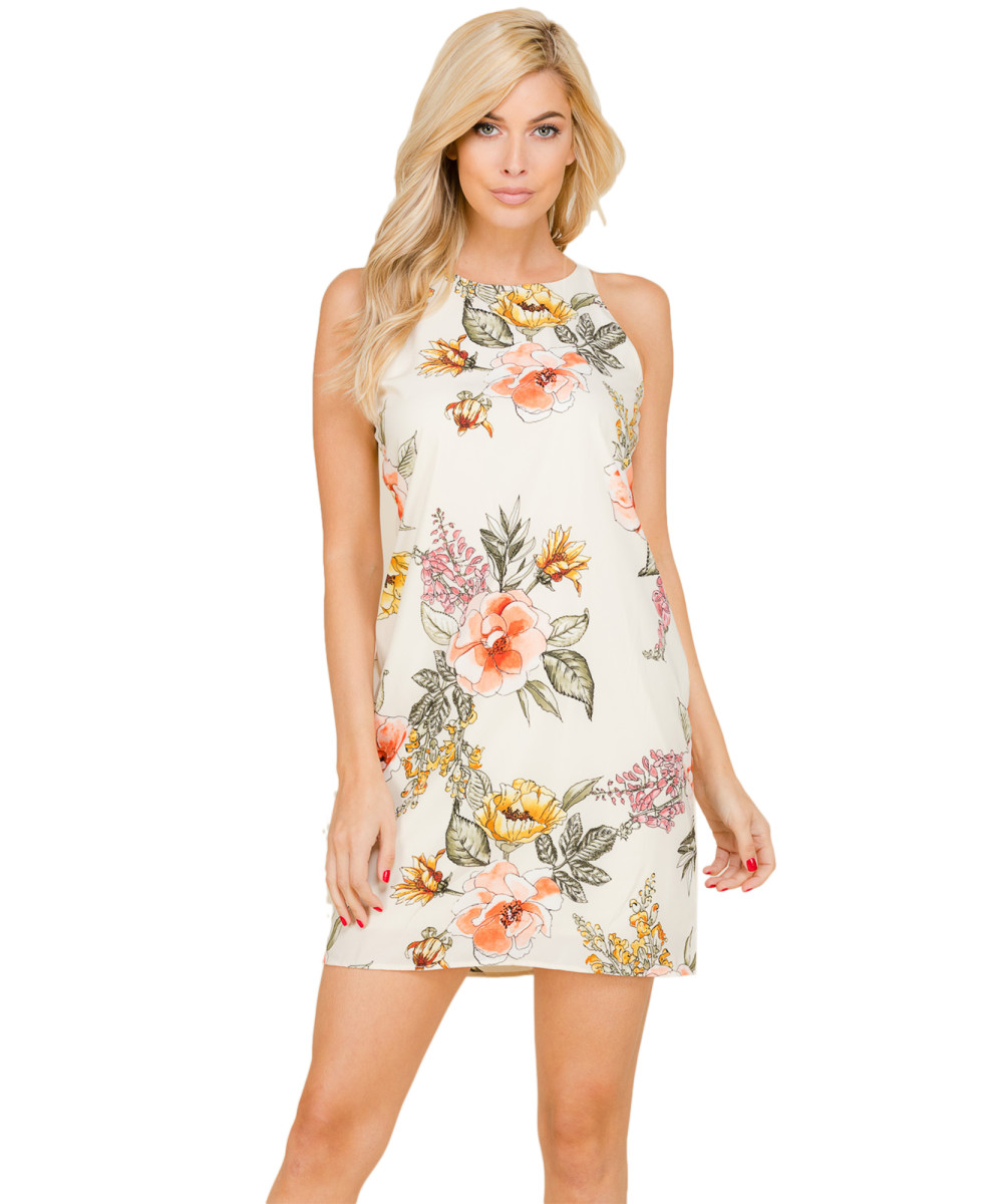 31326372e1a Women s Casual Floral Print Sleeveless Chiffon Mini Dress - Made in USA