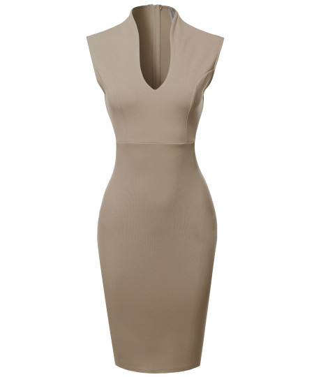 Women's Elegant Sleeveless  Formal Slim Cocktail Party Pencil  Midi Dress