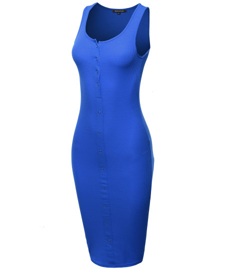 Women's Solid Sleeveless Ribbed Snap Button Body-Con Midi Dress