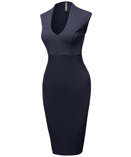 Women's Elegant Solid Scoop Necked Slit in Back For a Chic Finish Pencil Midi Dress