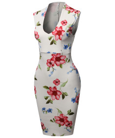 Women's Scuba Floral Print Sleeveless Front U Neckline Cocktail Party Midi Dress