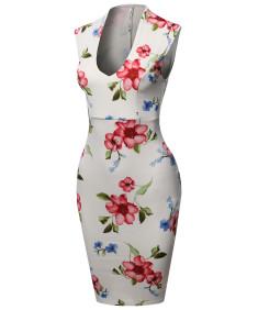Women's Scuba Floral Print Sleeveless Front U Neckline Cocktail Party Midi Dress
