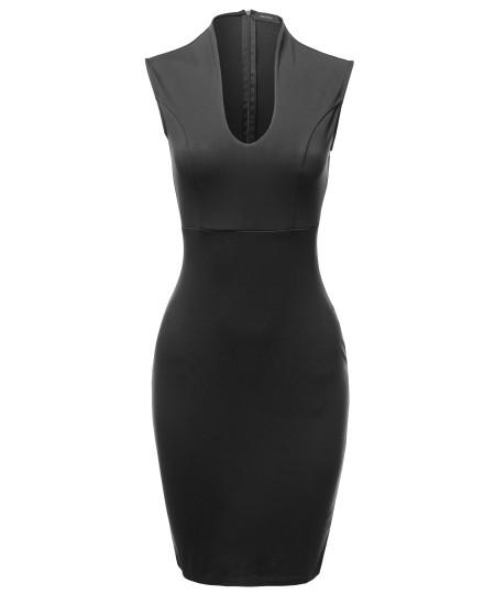 Women's Elegant Sleeveless  Zipper Back  Formal Slim Cocktail Party Pencil  Midi Dress