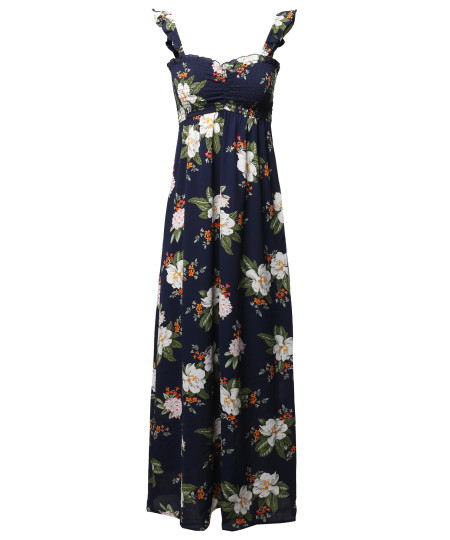 Women's Crepe Rose Printed Smocking Long Dress with Ruffled Flutter Straps