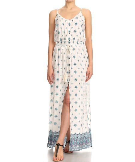 Women's Casual Border Print Button Trim Waist Tassels Front and Side Slits Maxi Dress