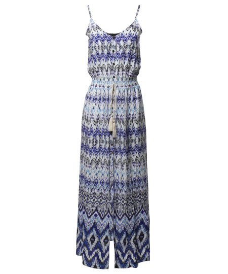 Women's Casual Abstract Print  Button Trim Waist Tassels Front and Side Slits Maxi Dress