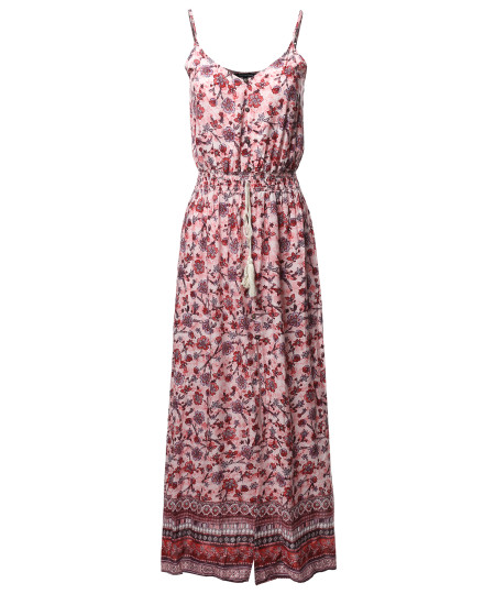 Women's Casual Floral Print Button Trim Waist Tassels Front and Side Slits Maxi Dress