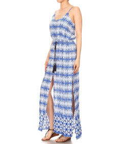 Women's Casual Tie Dye Print Button Trim Waist Tassels Front and Side Slits Maxi Dress