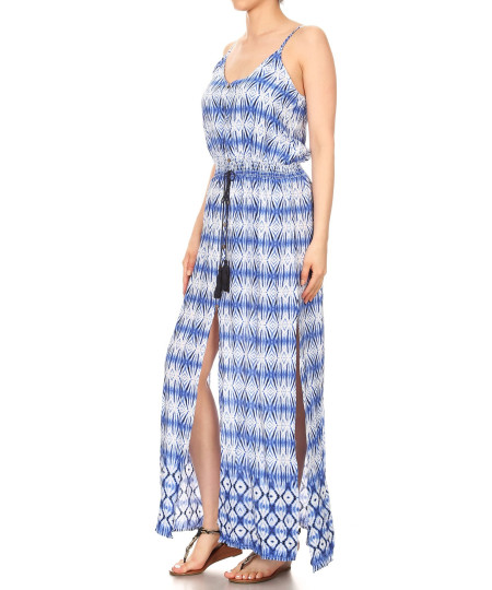 Women's Casual Tie Dye Print Button Trim Waist Tassels Front and Side Slits Maxi Dress