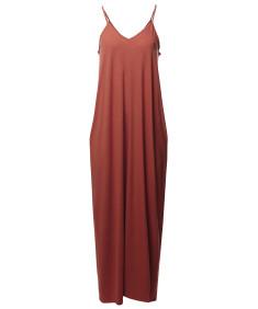 Women's Casual Premium Adjustable Strap Side Pockets Loose Long Maxi Dress