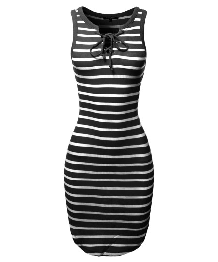 Women's Casual Cute Stretchable Stripe Print Sleeveless Front Lattice Bodycon Dress