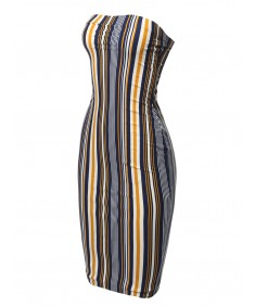 Women's Super Sexy Comfortable Tube Top Bodycon Vertical Strips Midi Dress