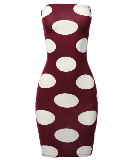 Women's Sexy Premium Fabric Stretch Allover Polka Dot Bodycon Tube top Dress
