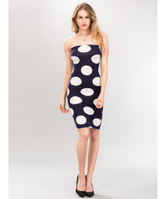 Women's Sexy Premium Fabric Stretch Allover Polka Dot Bodycon Tube top Dress