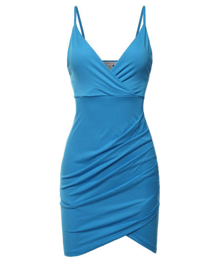Women's Sexy Premium Fabric  Stretch Cami Straps Front Tulip Hem Plunging  V-neck Dress