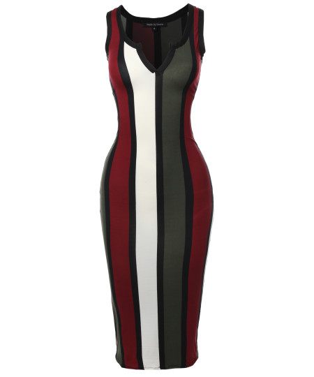 Women's Sexy Stretchable Sleeveless Racer Back Striped Print Long Dress