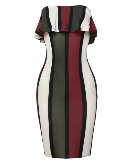 Women's Casual Sexy Soft Stretchable Off Shoulder Frill Striped Midi Dress