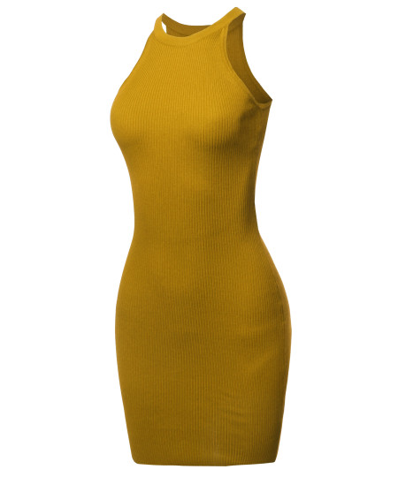 Women's Elegant Sexy Sleeveless Ribbed Cocktail Party Open-Back Mini Dress