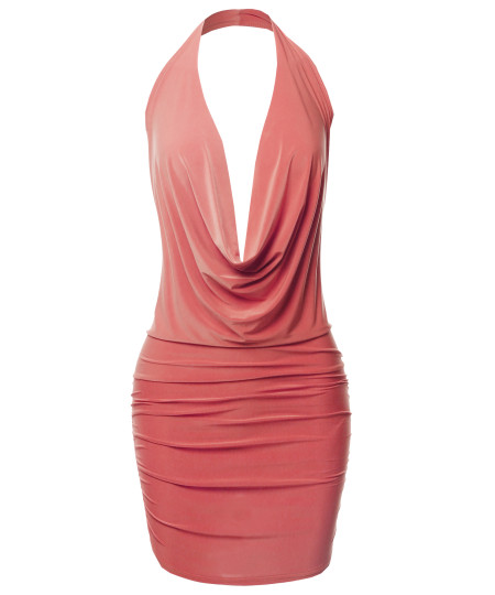 Women's Sexy Halter Neck Ruched Bodycon Backless Party Cocktail Mini Dress
