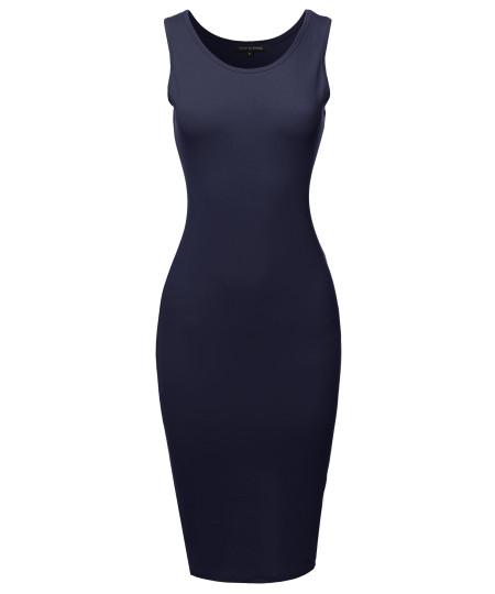 Women's Basic Sleeveless Scoop Neck Stretch Midi Dress
