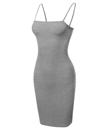 Women's Adjustable Spaghetti Strap Ribbed Cami Mini Dress