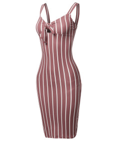 Women's Stretch Sweet Heart Neckline With Self-Tie Stripe Sexy Dress