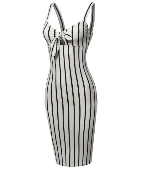 Women's Stretch Sweet Heart Neckline With Self-Tie Stripe Sexy Dress