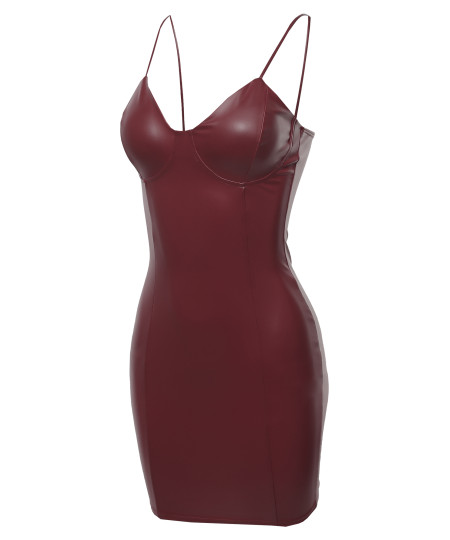 Women's Sexy PU Leather Bustier Top Party Cocktail Mini Dress