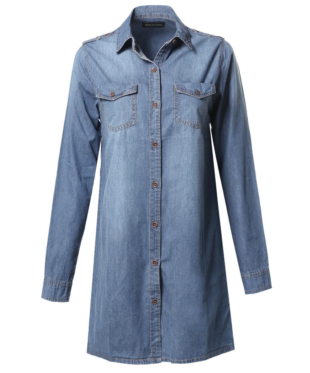 Women 39 S Denim Loose Fit Button Up Chest Pockets Dress
