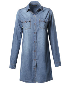 Women's Denim Loose Fit Button Up Chest Pockets Dress Shirts