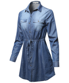 Women's Denim Roll-Up Long Sleeve Button Down Elastic Waist Band Drawstring Dress Top